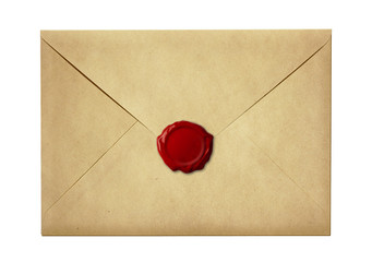 mail envelope or letter sealed with wax seal stamp isolated on w