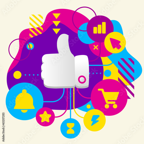 Thumb up on abstract colorful spotted background with different
