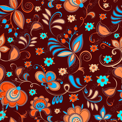 floral theme seamless pattern