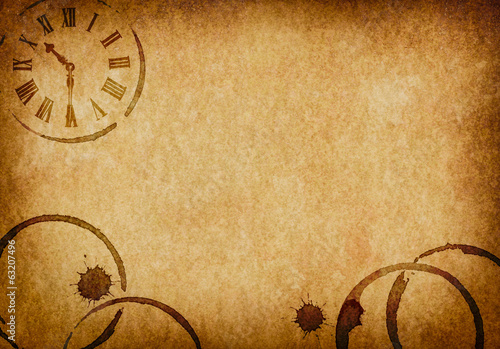 Coffee Stains & Clock Vellum Parchment Background