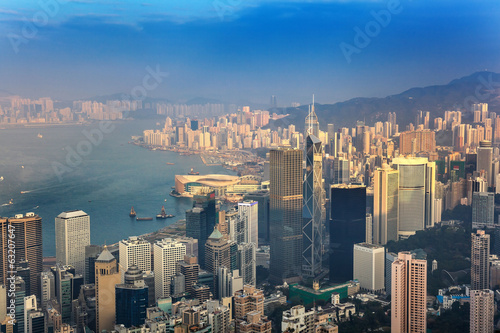 Hong Kong city skyline view from Victoria peak