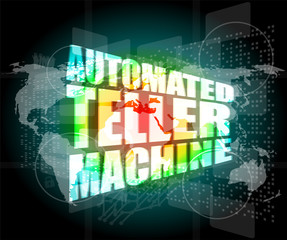 automated teller machine word on digital touch screen