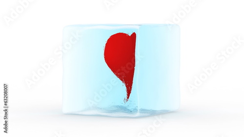 Heart is in ice block