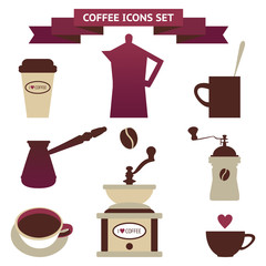 Retro coffee silhouettes on white background