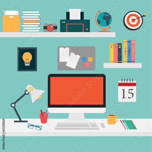 Vector of Office set for work . - 63208869