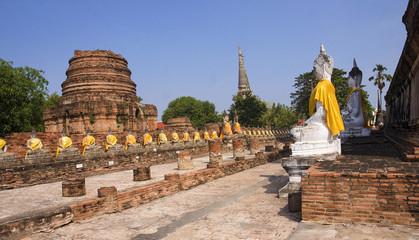 Buddha statues at Wat Yai Chai Mongkol in Ayutthaya