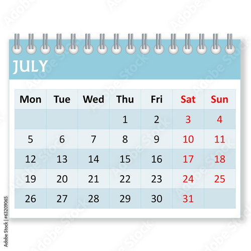 Calendar sheet for july