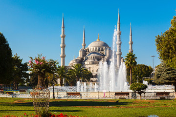 Blue Mosque on background blue sky