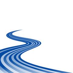 Abstract waving blue ribbon flag
