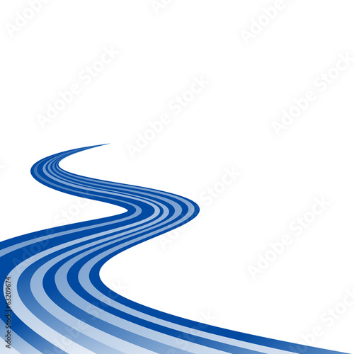Abstract waving blue ribbon flag