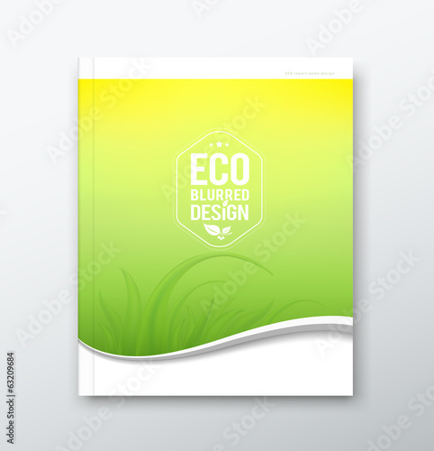 Cover Annual report, eco blurred yellow and green design