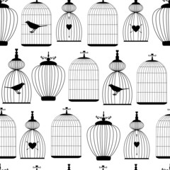 Seamless pattern with decorative cages