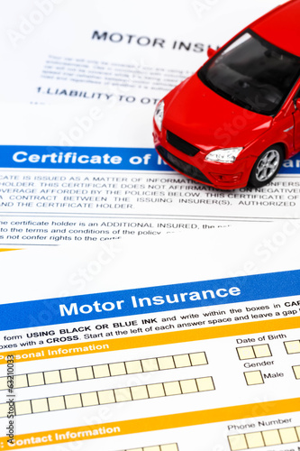 Motor or car insurance application with car model
