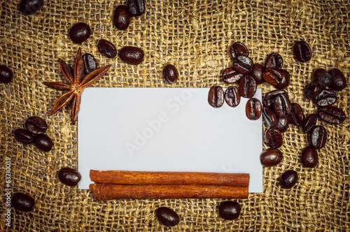 Visiting card with coffe, cinnamon and star anise