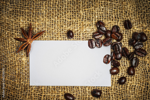 Visiting card with coffe and star anise