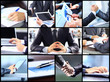 Collage of businesswoman hands working