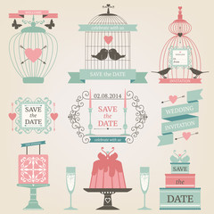 Vintage collection of Vector wedding icons.
