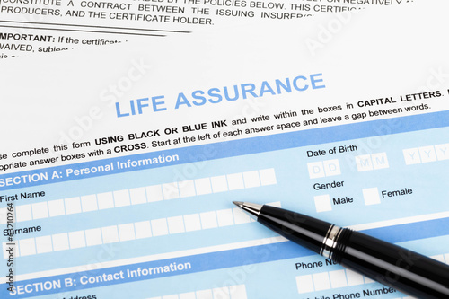 Life assurance application form with pen concept for life planni