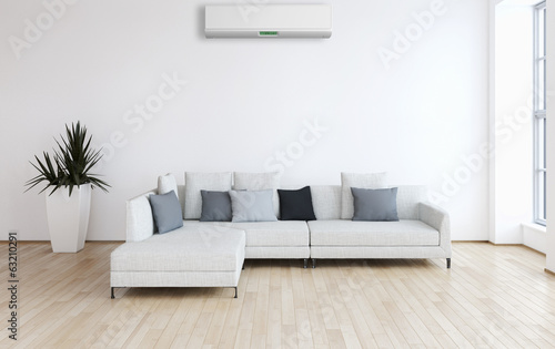 Living room with modern air conditioner