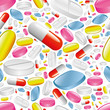 pills and capsules seamless pattern