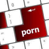 Porn button on computer pc keyboard poster