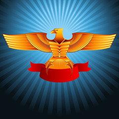 Gold metal eagle with a ribbon on a background; Eps8