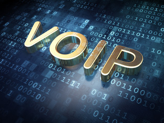 Web design concept: Golden VOIP on digital background