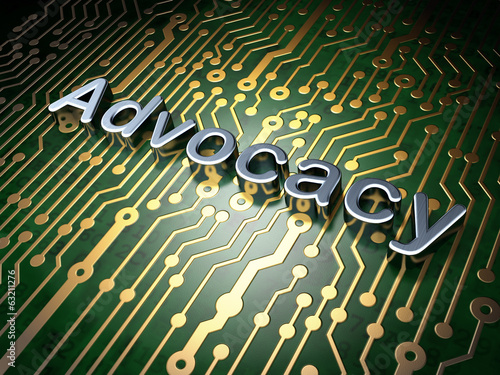 Law concept: Advocacy on circuit board background