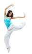 Young modern slim dancer girl exercise hip-hop style pose