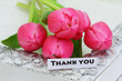 Thank you card with pink tulips