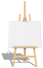 Easel and Canvas.Front view of an Easel and Canvas.Hard shadow.