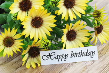 Happy Birthday card with yellow daisies