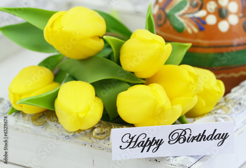 Happy Birthday card with yellow tulips