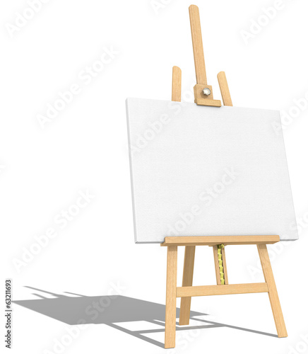 Easel and Canvas.Side view of an Easel and Canvas.Hard shadow.