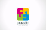 Puzzle Square vector logo design. Funny Rebus entertainment - 63211888