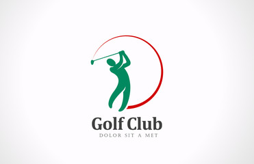 Golfer playing vector logo design. Golf club tournament icon