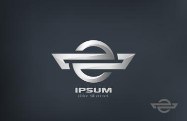 Corporate symbol metal vector logo design. Luxury icon