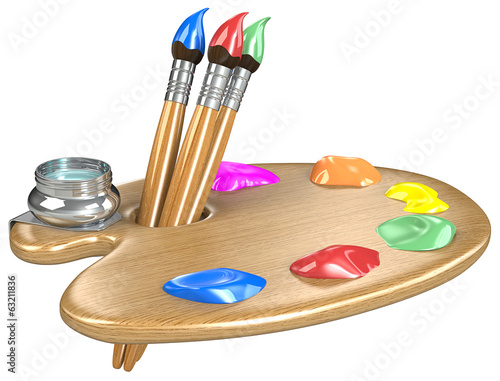 Palette and brushes. Wooden Palette with Brushes. Isolated.