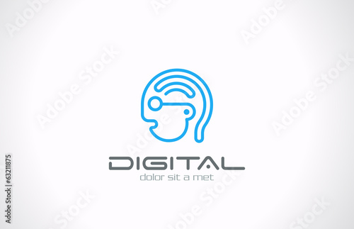 Digital Head Line art vector logo design. Internet generation