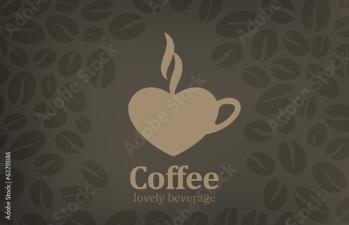 Coffee cup heart shape vector logo design. Cafe emblem