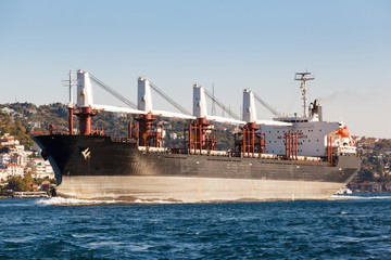 large ship tanker proceeding along the Bosphorus