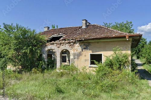 Old abandoned railway station building