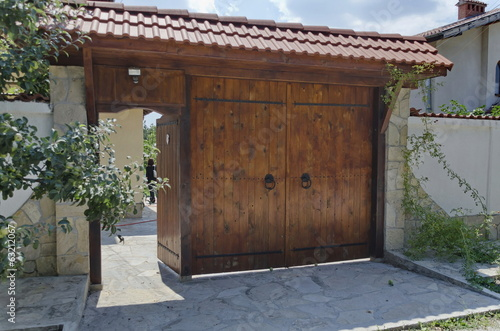 Wood entrance with shelter in rural house