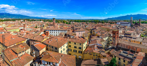 Panoramic view beautiful Italian town Lucca