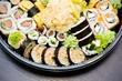 Sushi set takeaway. Traditional Japanese food.