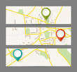 Set of banners with map and color pin pointer