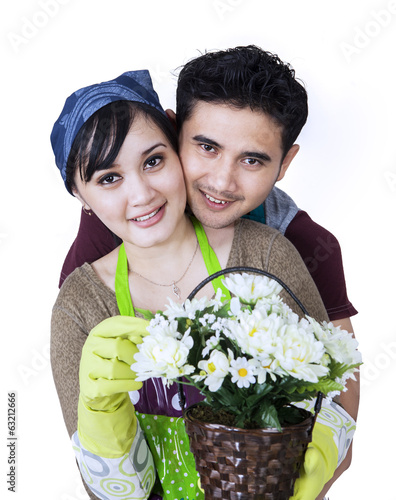 Couple with a flower pot