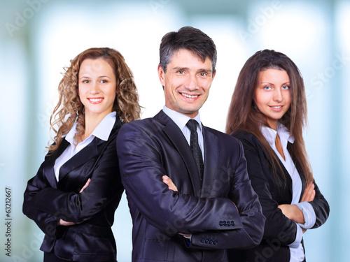 A business team with pretty leader