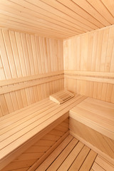 Wide angle photo of wooden sauna