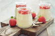 Panna cotta with fresh strawberry